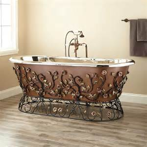 71 quot flora smooth copper freestanding tub nickel interior