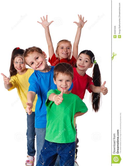 group  children  hands  thumbs  stock photo image