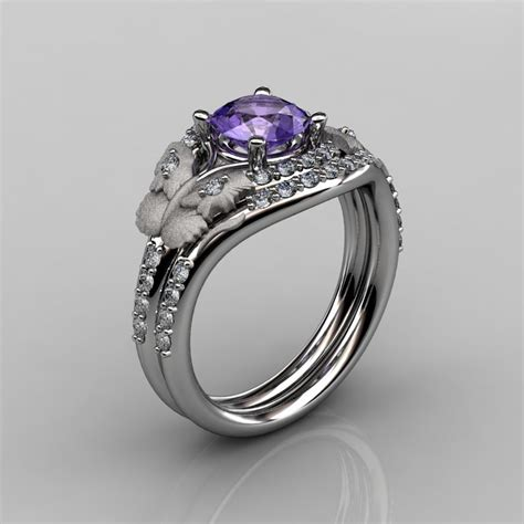 14kt white gold leaf and vine amethyst wedding