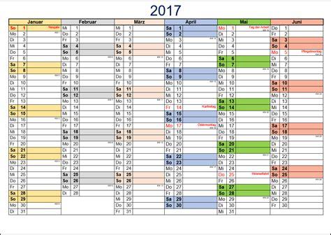 Kalender 2017 Halbjahreskalender Kostenlose Kalendervorlagen 2017 Office Lernen