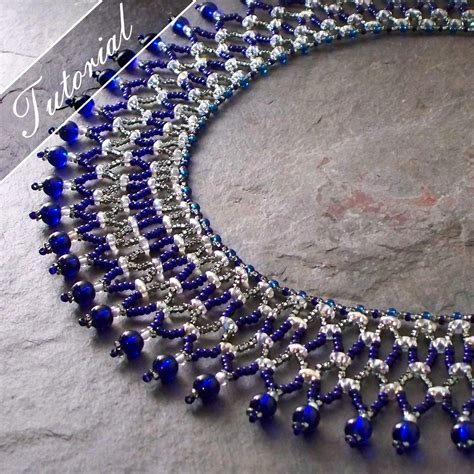 bead weaving patterns duo vertical netting stitch collar by