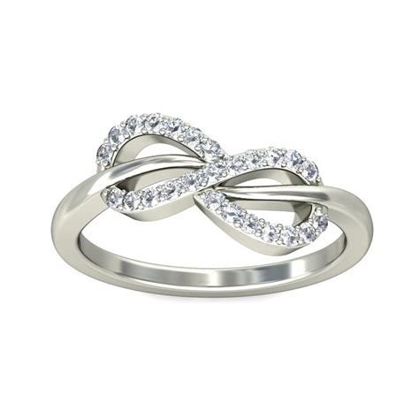 infinity design engagement ring in white
