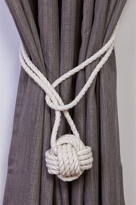 white rope curtain tie backs cotton rope monkey fist knot tie backs nautical curtain