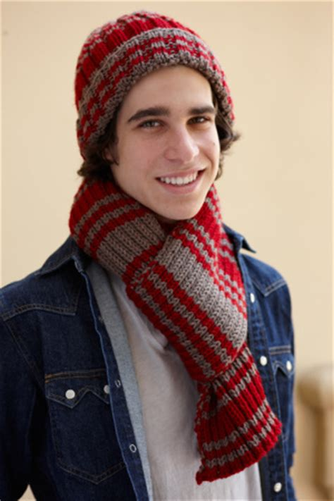 knitting pattern scarf and hat set knitted hat and scarf set with varsity stripe free