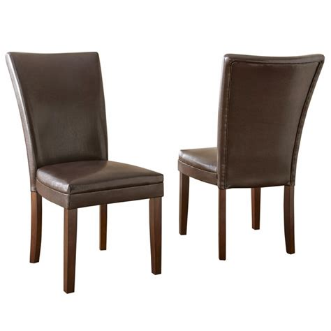 set of 2 hartford contemporary brown leather upholstered