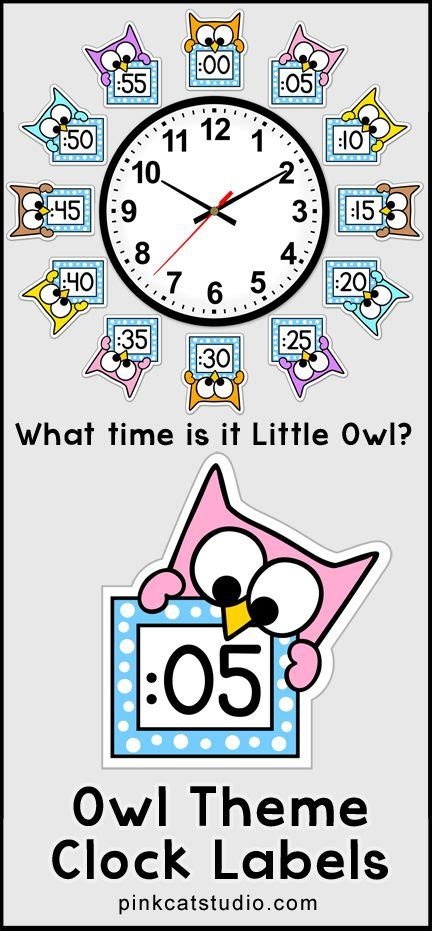 printable clock labels for classroom owl theme telling time clock labels back to school