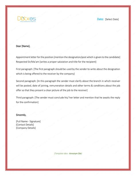 appointment letter formats samples word