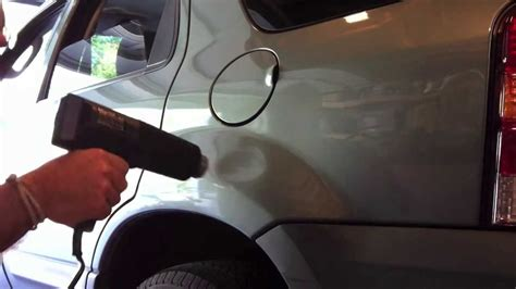 Using Hair Dryer As Heat Gun paintless dent repair using a heat gun and a can of