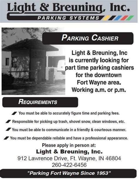 fort times classified ads part time parking cashier fort wayne indiana customer