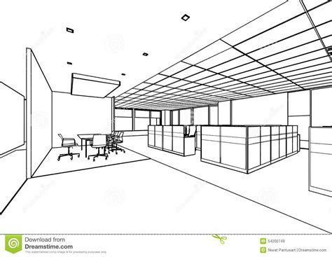 How To Draw Interior Perspective From Plan by Outline Sketch Of A Interior Stock Illustration Image