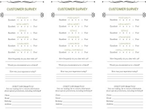 food tasting comment card template for word cafe comment card marketing archive