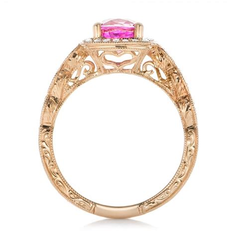 custom gold and pink sapphire engagement ring 102285
