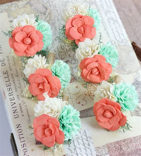 mint green coral wedding wedding flowers pin corsage mint coral ivory