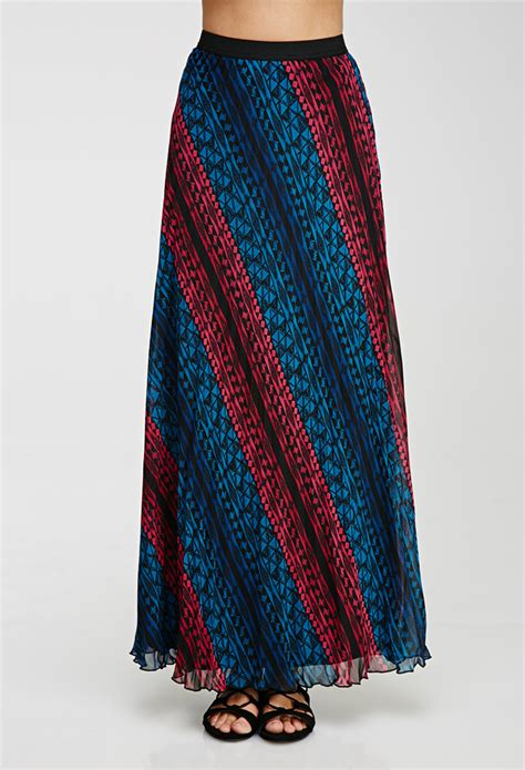 forever 21 contemporary pleated print maxi skirt in blue