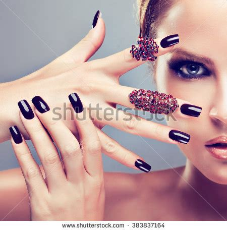 beautiful fashion model in jewelery and lila manicure red tipped stock images royalty free images vectors