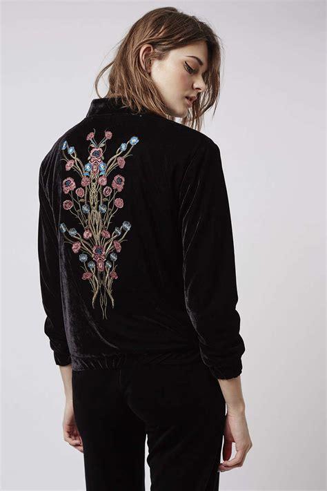 Embroidered Jacket lyst topshop velvet embroidered bomber jacket in black