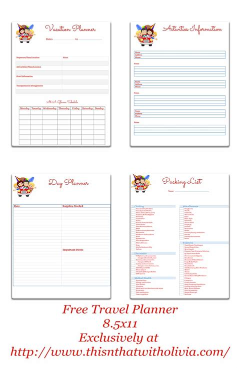 printable orlando holiday planner free printable vacation planner vacation