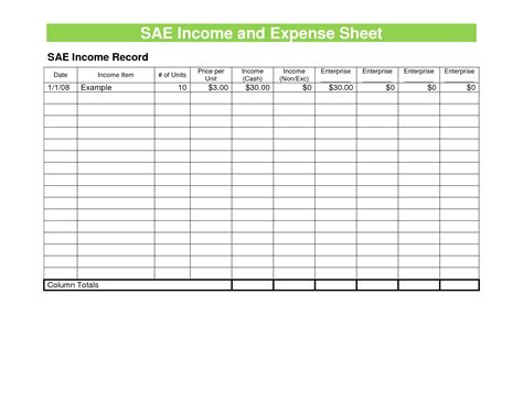 sae income and expense sheet template sle helloalive