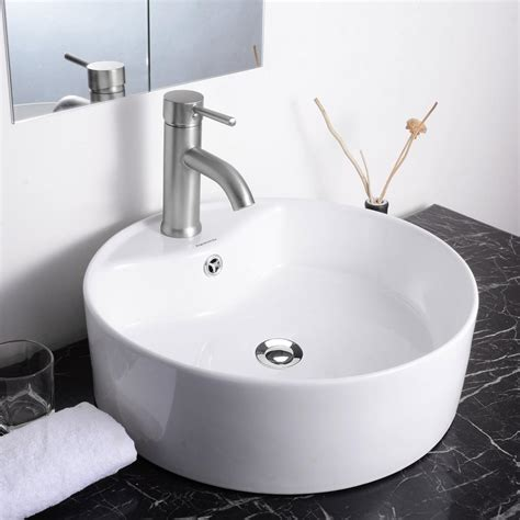 vessel sink drain with overflow aquaterior 174 bathroom porcelain ceramic vessel sink vanity