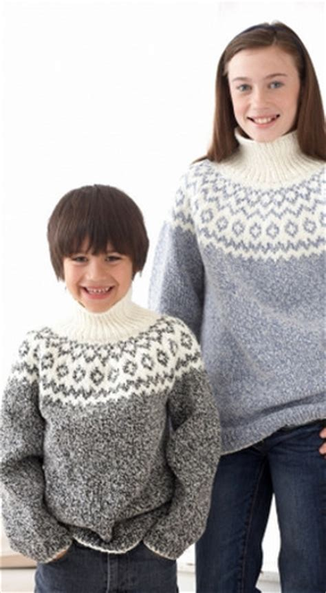 knitting patterns for sweaters on circular needles kid s classic fair isle sweater allfreeknitting com
