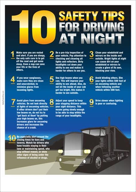 road safety poster 10 safety tips for driving at night