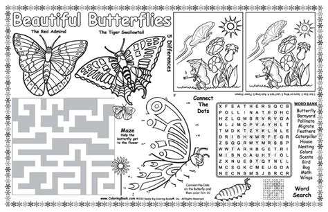 coloring books butterflies coloring placemat