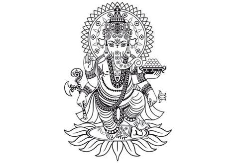 ganesha tattoo black and white attractive black line detailed ganesha elephant standing