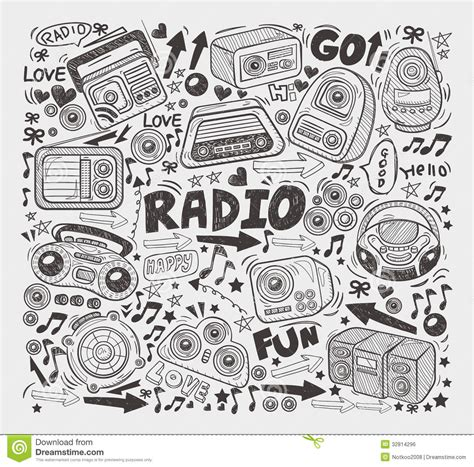 free vector doodle elements doodle radio elements royalty free stock image image