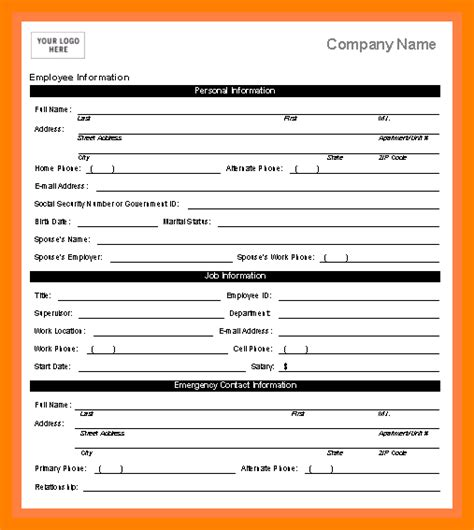 personal information form template template for personal information contemporary