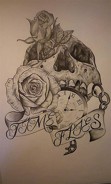 pencil drawings tattoo designs design pencil drawing time flies by