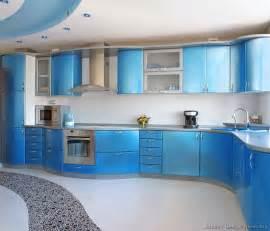 blue kitchen cabinets ideas a metallic blue kitchen with modern curved cabinets