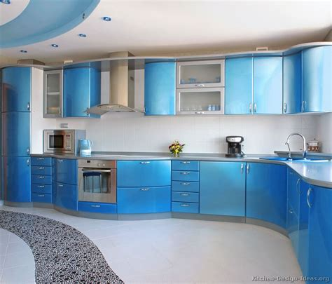 blue kitchen a metallic blue kitchen with modern curved cabinets