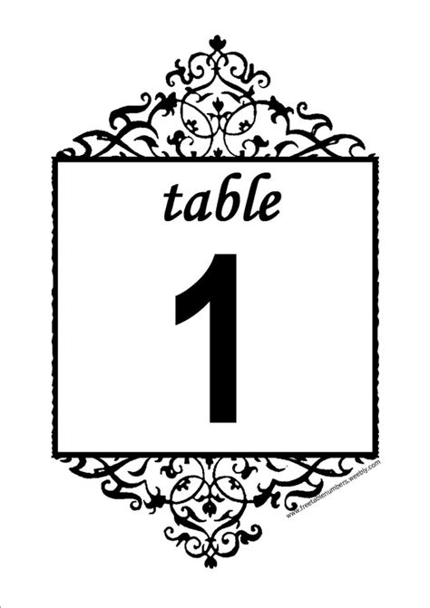 printable table number templates free printable table number templates invitations