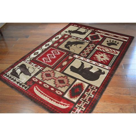 Lodge Rugs by Rustic Lodge Area Rug 5 3 X 7 4 Ebay