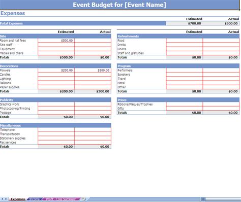 event budget template new calendar template site