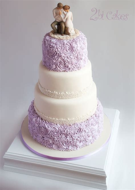 Wedding Cake Lavender by Lavender Rosettes And Pearls Wedding Cake By 2bi Cakes