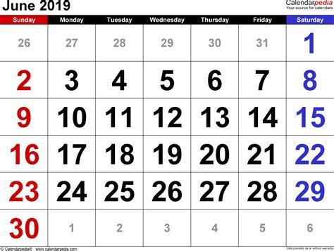 Calendar 2019 June June 2019 Calendars For Word Excel Pdf