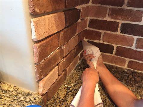 how to install brick tile backsplash cabinet hardware do it yourself brick veneer backsplash remington avenue