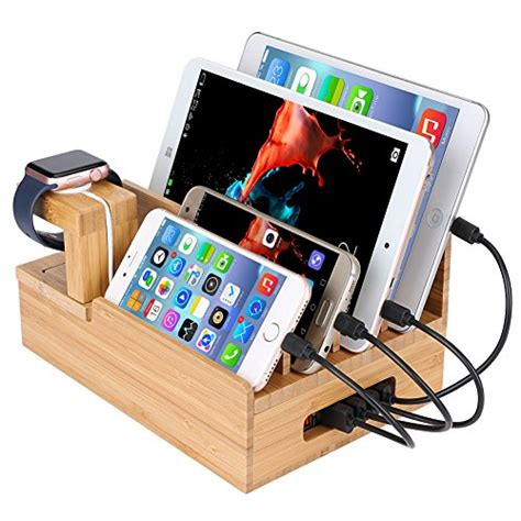 smartphone charging station inkotimes bamboo charging station dock organizer for apple
