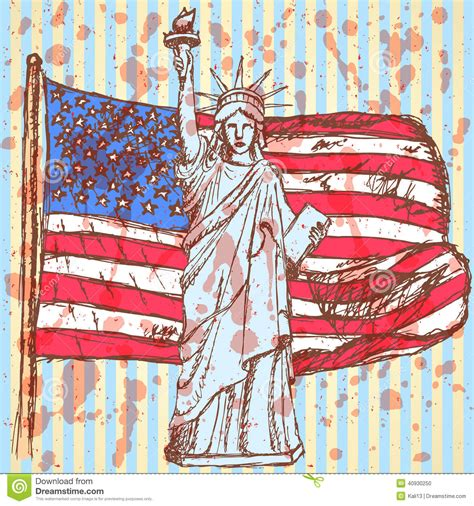 sketchbook usa sketch usa flag and statue of liberty vector background