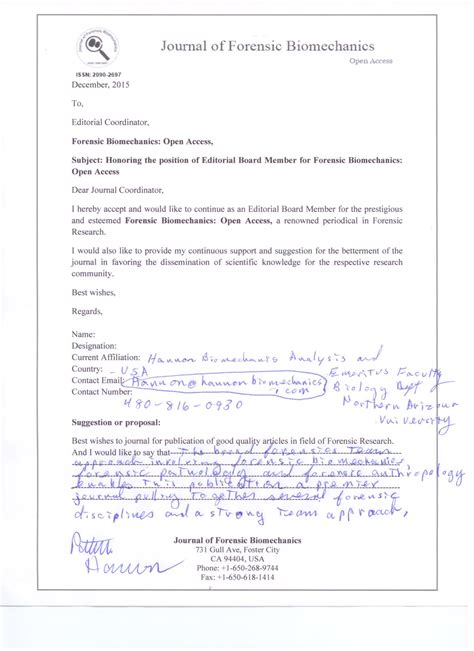 Acceptance Letter For Article Publication Editors Forensic Biomechanics Journals Editorial Board