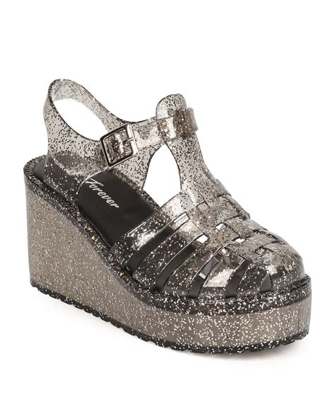 Sendal Wedges Jelly Transparan Gliters 210 new forever chantal 92 glitter jelly toe fisherman wedge sandal size ebay