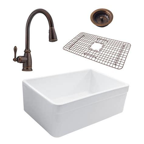 All In One Kitchen Sink Sinkology Wheatley Reversible All In One Farmhouse Fireclay 30 In Single Basin Kitchen Sink