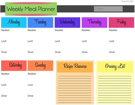 weekly menu planner template 7 best menu planning images on weekly meals