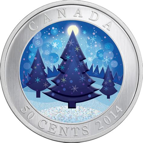 2014 50 cents cupronickel coin lenticular christmas tree