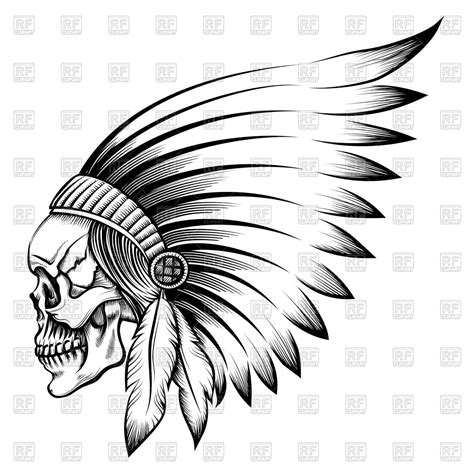 indian chief skull in engraving style royalty free vector