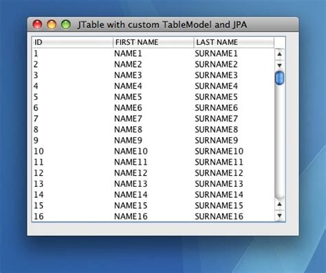 java swing exles jtable table model database