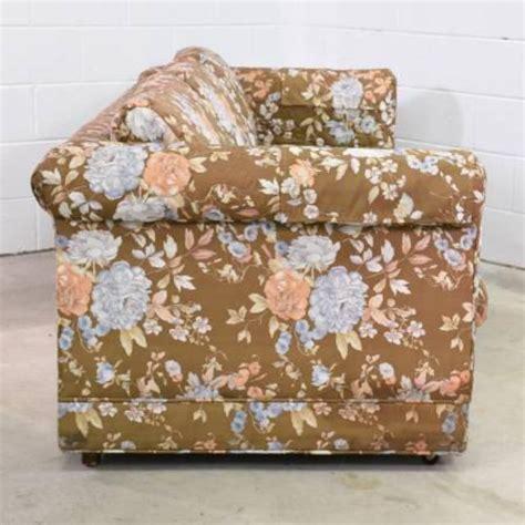 floral print sofa long retro sofa in brown floral print loveseat vintage