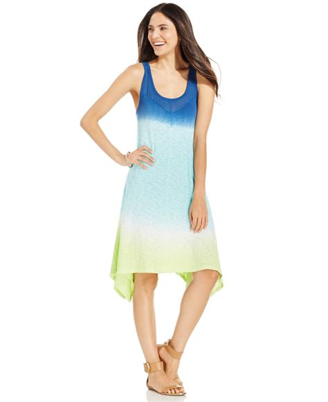 Dkny Dk01 Sea Blue A lyst dkny ombr 233 sleeveless dress in blue