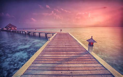 nature landscape sunrise sea walkway clouds tropical
